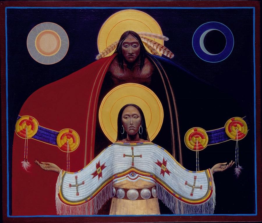 Lakota Annunciation II #30 Sacred Art by Fr. John B. Giuliani